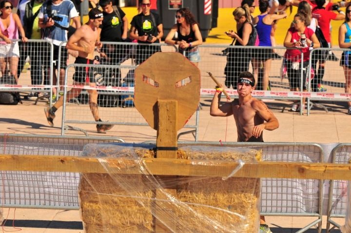 Some obstacles aren't that hard, like throwing spears. Although this participant thinks it is :-)